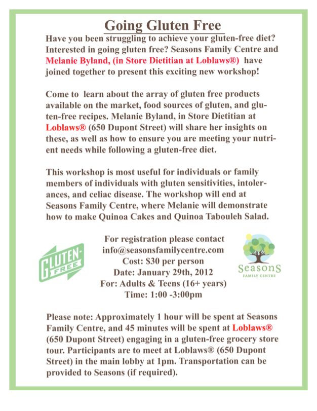 Gluten-Free Workshop at Loblaws/Seasons